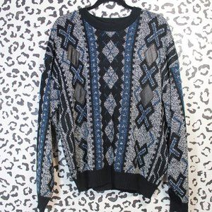 Vintage Impact Diamond Leather Applique Sweater Lg